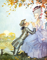 Молодой человек целует ручку в лиловой одежде, стоя перед ней на коленях (1916 г.)